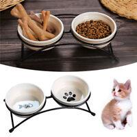 Non Skid Double Dish Pet Ceramic Bowl Dog Cat Food Tray Non Slip Elevated Bowl