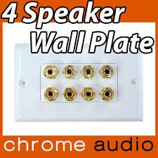 4 Speaker Banana Socket Wall Plate