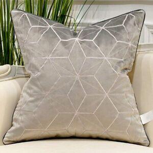 "1 Avigers Light Gray Gold Diamond Plaid Throw Pillow Cover 20"" X 20"""