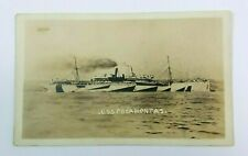 USS Pocahontas US Navy WWI Postcard RPPC Real Photo Ship Troop Transport NY AZO
