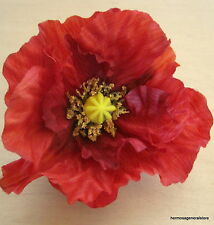 "Large 4.5"" Orange Poppy Silk Flower Hair Clip,Armistice Day,Dance,Remembrance"