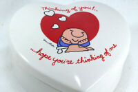 Vintage ZIGGY ceramic heart shaped Trinket Box Thinking of you hope ... me 1981