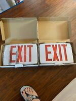 Emergency LED Lighting Fixture Universal Exit Sign Battery Backup Red Letter