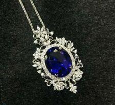 7.5CT Blue Tanzanite & White Sim Diamond  Pendant 14k White Gold Plated Silver