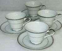 4 Imperial China *DALTON SINCERITY*WHITE & PLATINUM* FOOTED CUPS & SAUCERS