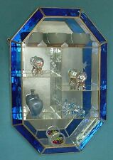 24'' tall Blue Stainedglass front panel Glass CURIO CABINET for crystal display