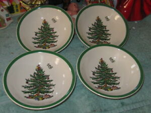 "Spode Christmas Tree Cereal, Soap Dinner Bowls 6.25"" - lot of 4"