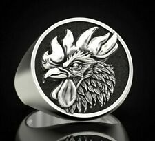 Rooster Cock Cockerel junglefowl bird 925 sterling silver biker rider ring Gift