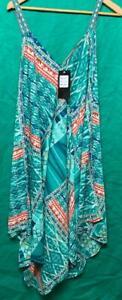Umbrella Butterfly print spaghetti strap summer dress Plus size 1X 2X 3X turq