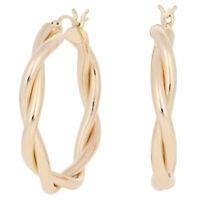 Twist Hoop Earrings - 14k Yellow Gold Pierced Snap Closures