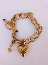 """Juicy Couture Goldtone Heart with """"J"""" Toggle Clasp Chain Link Bracelet"""