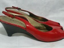 FRANCO SARTO  RED LEATHER Slingback SANDALS HEEL 9,5M (21)