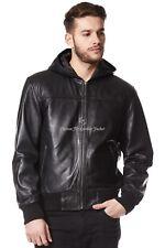 Chaqueta para hombre de cuero negro 100% Real Napa Chaqueta Con Capucha Bomber fited elegante de 3252