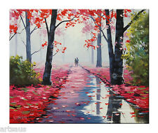 LOVERS STROLL OIL PAINTING  PINK TREES LANDSCAPE TRADITIONAL art by G. Gercken