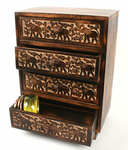 Carved Elephant Wooden Small Chest of Drawers, Fair Trade, Jewellery Storage