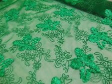 """Emerald Floral Ribbon Holly Embroidery Mesh Fabric Dresses, Prom, 50"""" wide"""