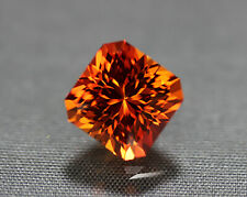 Padparadscha Sapphire. Lab Grown Square Portuguese Cut.10.35 mm. 8.25 cts