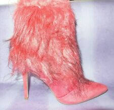 "NEW PINK Suedette Faux Fur High 4"" Stiletto Heel Ankle Boots Harajuku Club UK 7"