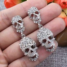 Skull Pierced Dangle Earrings Clear Rhinestone Crystal Silver GP Halloween Gift