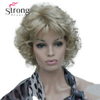 Short Soft Shaggy Layered Blonde Mix Full Synthetic Wig Curly Women's Synthetic
