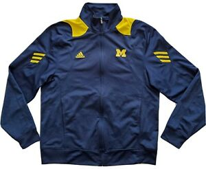 Michigan Wolverines Adidas Team Men Performance Full Zip Jacket Size Medium Blue
