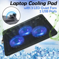 11''-17'' Game Laptop Cooler Cooling Pad Slim Portable USB Powered (3 Led Fans)