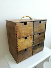 Wooden Storage Box with Brass Handle to the top 6 Drawers Storage Organizer
