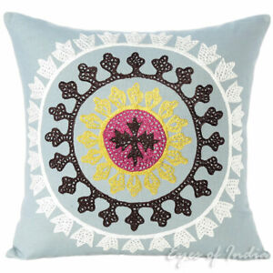 Colorful Boho Embroidered Pillow Cover for Sofa, Decorative Bohemian Cushion Cov