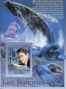 Guinea Whales Stamps 2008 MNH Marine Animals Gregory Peck Famous People 1 S/S