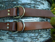 "Handmade Double O-Ring Leather Belt Heavy Duty 1 1/4"" Inch Wide Mens/Womens NEW"