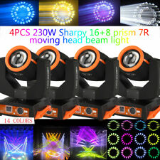 More details for 4 x 7r 230w zoom moving head beam sharpy light 8 prism strobe dmx stage dj party