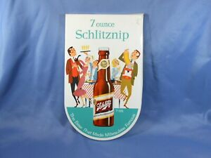 Vintage Metal 1958 Advertising Schlitznip Beer Sign