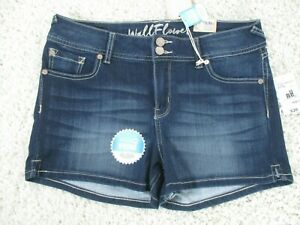 WallFlower Juniors Insta Soft Ultra Fit Shorty Shorts Blue Jean Size 13
