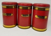 Vintage Dutch Canister Set - Red And Gold