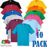 10 x Fruit Of The Loom MEN'S T-SHIRT TEE COTTON PLAIN WHOLESALE TSHIRTS PACK