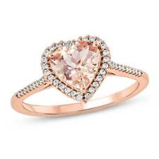 3 Ct Heart Cut Morganite Simlnt Diamond Halo Solitaire Ring Rose Gold Fns Silver