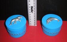 2 x Blue Ceramic Dolphin Trinket Boxes.