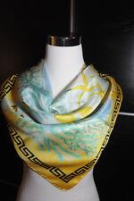 "NEW $480 VERSACE 100% Silk Barocco Print Yellow Blue Scarf 34x34"" (90x90cm)"