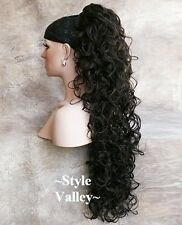 Brown Black Ponytail Extension Clip on  in Hairpiece Extra Long Curly Hair Piece