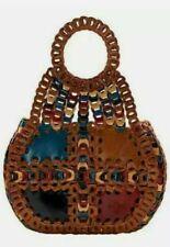 New ListingPatricia Nash Pisticci Turquoise Multi-Color Linked Leather Shoulder Bag-Nwot