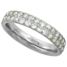 Ring w/ Cubic Zirconia Stones 4mm Stainless Steel 2-Row Eternity