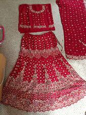 Lovely Maroon Rosso da Sposa Lengha-Indiano Bollywood-NUOVO CON ETICHETTE TAGLIA 12 - 16