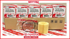 TOYOTA COROLLA PRIUS SCION IM XD OIL FILTER SET OF (5) GENUINE OEM 04152-YZZA6