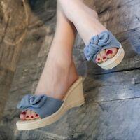 Women's Bowknot Denim Wedge Heel Sandals Open Toe Casual Shoes Slipper new