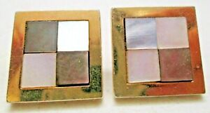 Vintage Swank Square MOP Mother Of Pearl Cufflinks Checkered Inlaid