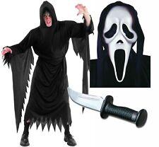 Scream Robe Mask and Dagger Mens Halloween Fancy Dress Horror Costume