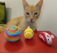 Handmade Cat Toy, mouse, fish, ball crochet with catnip, 3 pc amigurumi