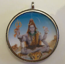 Shiva Round Pendant 40mm Diameter Cased in White Metal (PD4)