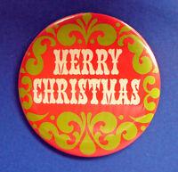Hallmark BUTTON PIN Christmas Vintage MERRY MOD Holiday PINBACK RARE