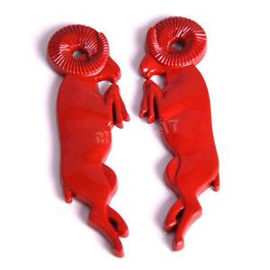 Pair Red 3D Leaping Ram Big Horn LH&RH Fender Door Emblem for Ram 1500 2500 3500